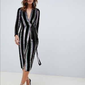 ASOS holiday nye sequin midi dress